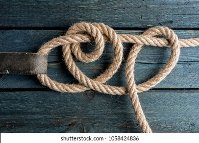 Taut-Line Hitch Knot. Rope node.