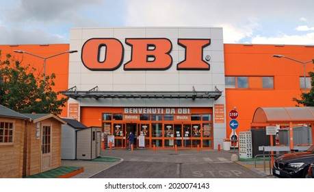 Tavagnacco, Italy. August 5, 2021. Entrance of OBI shop. It is a large german chain store of home improvements, DIY and gardening spread all over Europe