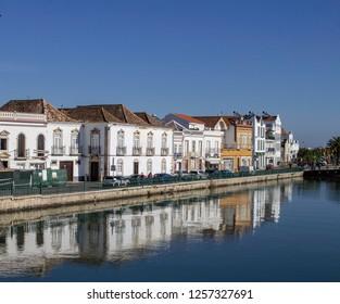Tavira, Portugal, 05/12/2018.The quayside along the River Gilão in Tavira.