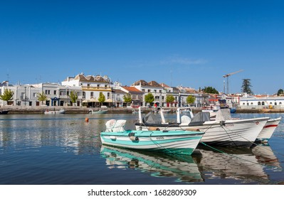 Tavira, Portugal - July 2019: Fishing boats at Tavira; Eastern Algarve; Portugal