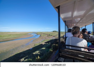 Tavira, Portugal - October 14th, 2018:  Mini-train at Barril Beach that transports visitors from the mainland to the beach, Tavira, Portugal