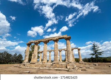 The Tavole Palatine (Palatine Table) are the remains of Greek temple dedicated to the goddess Hera in Metapontum (Metapontion) Magna Graecia. Archaeological Park of Metaponto, Basilicata, Italy.