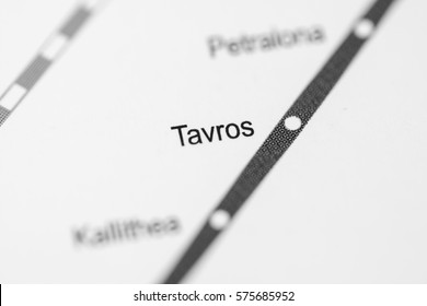 Tavros Station. Athens Metro map.
