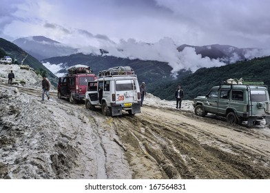 TAWANG, INDIA - SEPTEMBER 23: Frequent mudslides along the main road from Assam in the south to Tawang in the north on September 23, 2011 near Tawang, western Arunachal Pradesh, India.