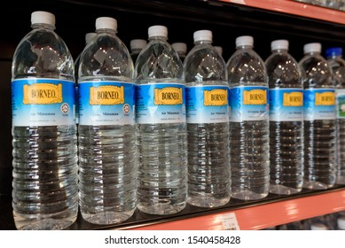 Tawau, Sabah, Malaysia. May 05, 2019. Local Borneo brand bottled water available for sale at the convenience store.
