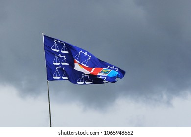 Tawau, Sabah/Malaysia - April 26, 2013: Barisan Nasional political campaign flag at a polling station for the Malaysian 13th general election in Tawau, Sabah.
