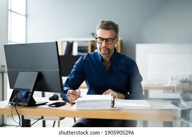 Tax Accountant Advisor Man Doing Sales Invoice Accounting