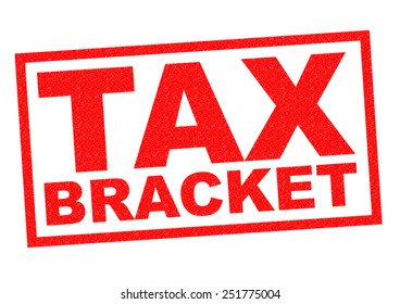TAX BRACKET red Rubber Stamp over a white background.