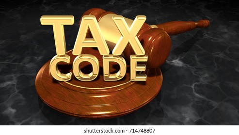 Tax Code Legal Gavel Concept 3D Illustration