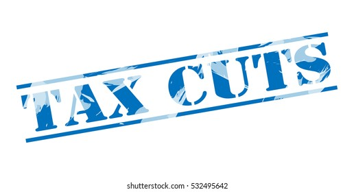 tax cuts blue stamp on white background