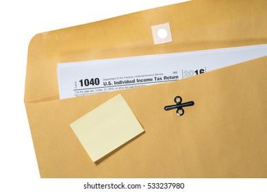 Tax Day blank reminder on envelope