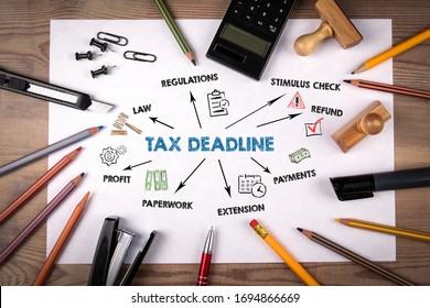 税金の締め切り。規制、刺激チェック、支払い、利益のコンセプト。キーワードとアイコンを含むグラフ。白い紙に切手と鉛筆、電卓