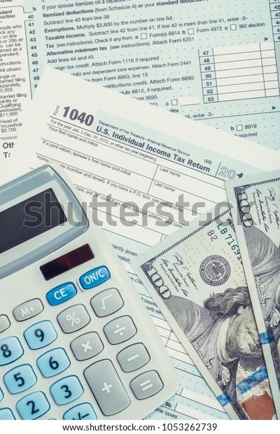 form 1040 calculator  Tax Form 12 Calculator Us Dollars Stock Photo (Edit Now ...