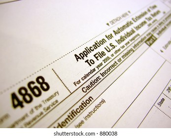 Tax form 4868 - Filing Extension
