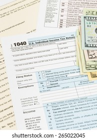 Tax form with banknote taxation concept