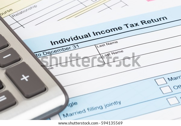 Tax Form Calculator Document Mockup Stock Photo (Edit Now