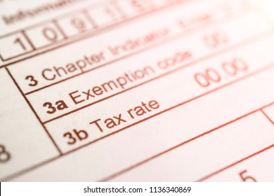 Tax form close up