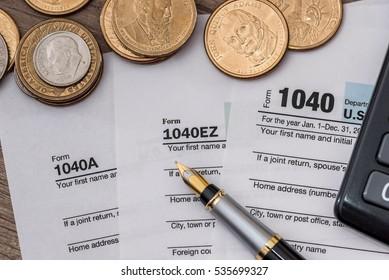 1040 US Tax Form Dolllr Bills Stock Photo (Edit Now