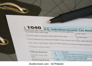 Tax form, dollar cash and document file, finance accounting and tax season concept