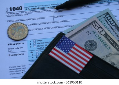 Tax form, Dollar cash in wallet, finance accounting and tax season concept