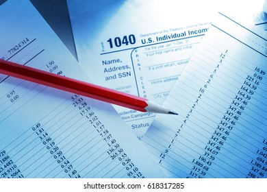 Tax form and operating budget in closeup