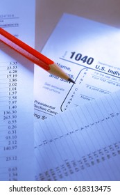Tax form and operating budget in closup