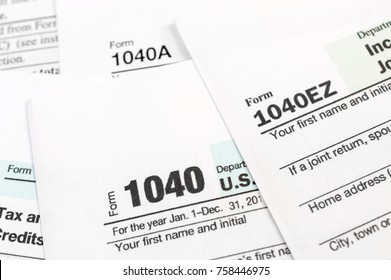 Tax forms 1040. Close up.