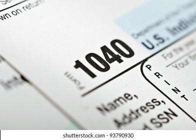 Tax forms 1040. U.S Individual Income Tax Return.