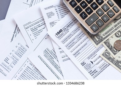 Tax forms background. The concept of tax settlement.