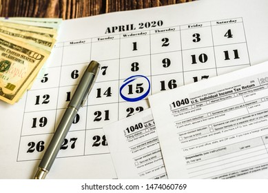 Tax payment day, marked on a calendar on April 15, 2020