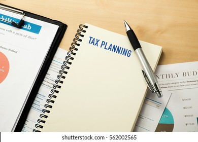Tax planner word on notebook paper
