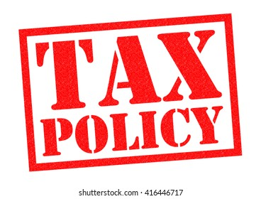 TAX POLICY red Rubber Stamp over a white background.