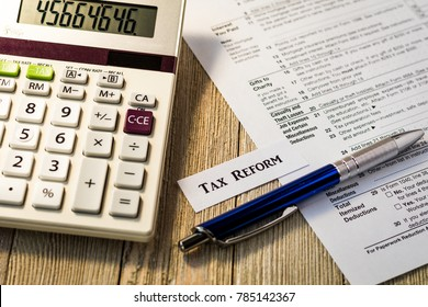Tax reform concept with tax preparation forms for standardized deductions and mortgage interest deductions