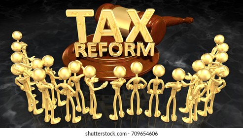 Tax Reform Law Concept The Original 3D Characters Illustration