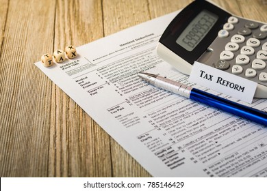 Tax reform planning concept with tax preparation forms for standard deductions and mortgage interest deductions