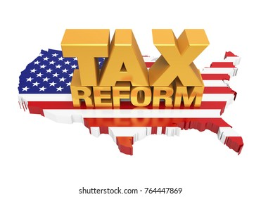 Tax Reform with United States Map Isolated. 3D rendering