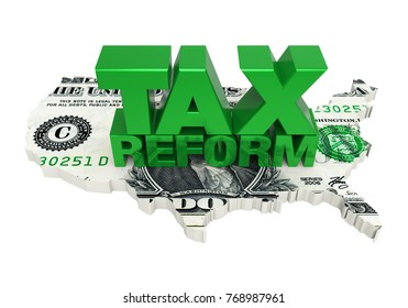 Tax Reform with United States Map Dollar. 3D rendering