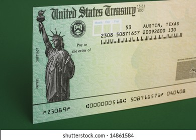 Tax refund check with a green background