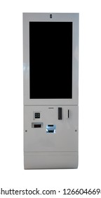 Tax Refund kiosk with big screen in a shopping mall isolated on white with path selection