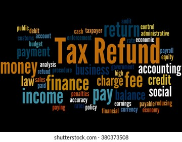 Tax Refund, word cloud concept on black background.