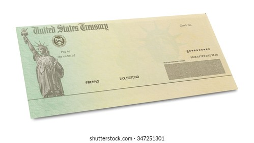 Tax Retrun Check with Copy Space Isolated on White Background.