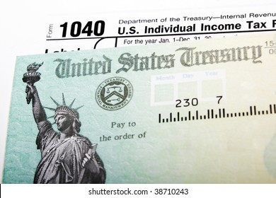 Tax return check and 1040 individual income form