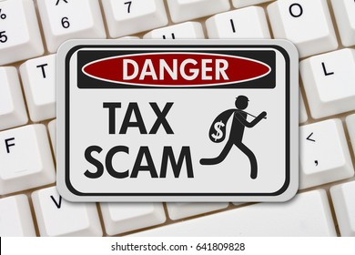 Tax scam danger sign, A black and white danger sign with text Tax Scam and theft icon on a keyboard 3D Illustration
