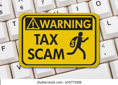 Tax scam warning sign, A yellow warning sign with text Tax Scam and theft icon on a keyboard 3D Illustration