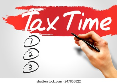 TAX TIME blank list, business concept