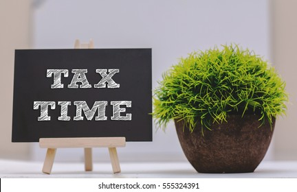 TAX TIME written on chalkboard with green plant,conceptual copyspace