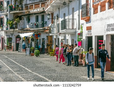 TAXCO, MEXICO - DECEMBER 27, 2015: The downtown of the city. Taxco is heavily associated with silver, both with the mining of it and other metals and for the crafting of it into jewelry silverware.
