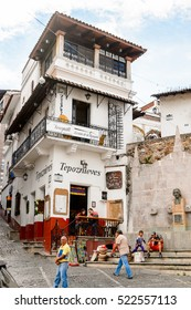 TAXCO, MEXICO - OCT 28, 2016: Architecture of the main square of Taxco, Mexico. The town is known because of its Silver products