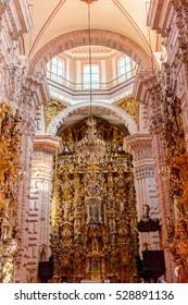 TAXCO, MEXICO - OCT 28, 2016: Interior of the Church of Santa Prisca, Taxco de Alarc�³n,  Guerrero, Mexico. Built between 1751 and 1758