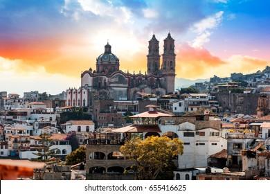 Taxco (Silver) city at dusk, Mexico